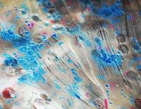 Fondo azul marino helado plateado de la acuarela, textura abstracta cerosa Fotografía de archivo