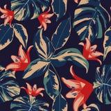 Fondo azul marino inconsútil de las flores y de las hojas Foto de archivo