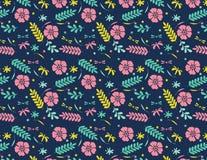 Fondo azul marino por completo de flores y de hojas ilustración del vector