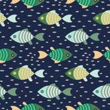 Fondo azul marino y verde del modelo marino de los pescados inconsútiles de la repetición ilustración del vector