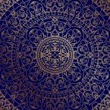 Fondo azul oriental con el ornamento del oro stock de ilustración