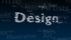 Fondo azul profundo con diversas palabras, que se ocupan de diseño Tipo borroso estupendo El diseño contiene un extenso de palabr libre illustration