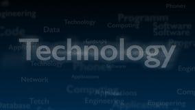 Fondo azul profundo con diversas palabras, que se ocupan de tecnología Cierre para arriba Copie el espacio 3d ilustración del vector