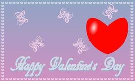 Fondo azul-rosado del día del ` s de la tarjeta del día de San Valentín del St de la postal Imágenes de archivo libres de regalías