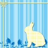 Fondo azul y amarillo del conejito ilustración del vector