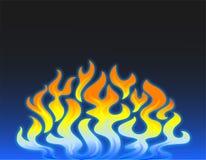 Fondo azul y anaranjado de la llama ilustración del vector