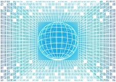Fondo azul y blanco de la matriz del vector con el globo de la tierra Imágenes de archivo libres de regalías