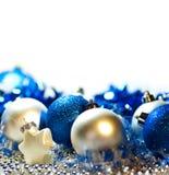 Fondo azul y de plata de la Navidad