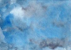 Fondo azul y gris del extracto exhausto de la acuarela de la mano imágenes de archivo libres de regalías
