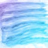 Fondo azul y púrpura de la acuarela abstracta de la mano, tarjeta del ejemplo de la trama Fotos de archivo