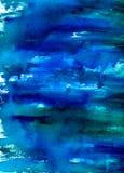 Fondo azul y verde de la acuarela Fotos de archivo