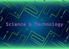 Fondo azulverde de HUD con las líneas y ciencia y tecnología Imagenes de archivo