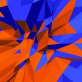 Fondo bajo abstracto del polígono 3d Azul y naranja Imagen de archivo libre de regalías