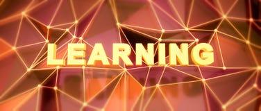 Fondo bajo-polivinílico abstracto Concepto de la palabra Aprendizaje del texto 3d con referencia a Fotos de archivo libres de regalías