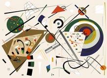 Fondo beige astratto, forme geometriche e curve operate, stile di arte di espressionismo Immagini Stock