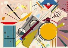 Fondo beige astratto, forme variopinte geometriche e curve operate, stile di arte di espressionismo Immagine Stock Libera da Diritti
