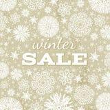 Fondo beige de la Navidad con los copos de nieve y apagado Imagen de archivo libre de regalías