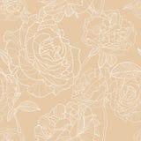Fondo beige leggero con i fiori rosa disegnati a mano del profilo Modello senza cuciture floreale di vettore Immagini Stock Libere da Diritti