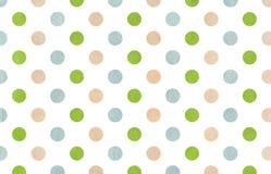 Fondo beige, verde e blu dell'acquerello del pois Fotografia Stock