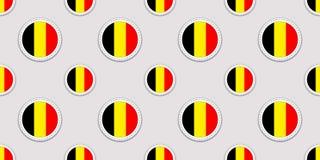 Fondo belga Modelo inconsútil de la bandera de Bélgica Iconos redondos del vector Símbolos geométricos textura repetida para las  Stock de ilustración