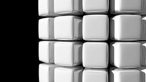 Fondo bianco astratto del cubo con una curva Immagine Stock