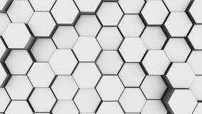 Fondo bianco astratto della geometria di esagono 3d rendono dei primitivi semplici con sei angoli nella parte anteriore illustrazione vettoriale