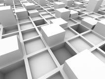 Fondo bianco astratto della struttura a blocchi del cubo Fotografie Stock