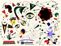 Fondo bianco astratto, ispirato dal pittore Miro Fotografia Stock
