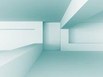 Fondo bianco blu astratto della costruzione di architettura Fotografia Stock