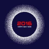 Fondo bianco blu- del fiocco della neve del nuovo anno 2016 Fotografia Stock