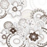 Fondo bianco con i fiori marroni Fotografia Stock