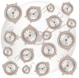 Fondo bianco con il modello classico degli orologi Fotografia Stock Libera da Diritti