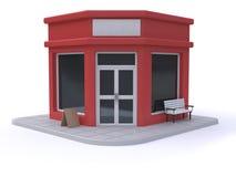 fondo bianco 3d del negozio-deposito di stile rosso del fumetto rendere illustrazione di stock