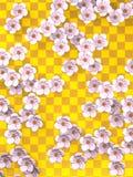 Fondo bianco di Cherry Blossoms On Gold Pattern Fotografie Stock Libere da Diritti
