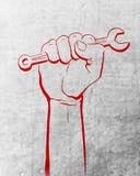 Fondo bianco di festa dei lavoratori di giorno di lavoro con struttura bianca del fondo astratto rosso della mano illustrazione vettoriale