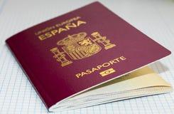 Fondo bianco di griglia del passaporto spagnolo fotografia stock