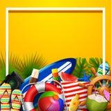 Fondo in bianco di vacanze estive nella sabbia gialla della spiaggia Vista superiore delle collezioni dell'elemento della spiaggi illustrazione di stock