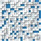 Fondo bianco e blu astratto con il mosaico Immagini Stock