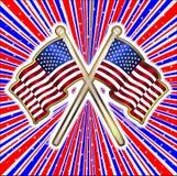 Fondo bianco e blu rosso dei raggi con le stelle ed il Pin della bandiera illustrazione di stock