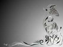 Fondo in bianco e nero con l'ornamento floreale astratto nell'angolo Fotografie Stock Libere da Diritti