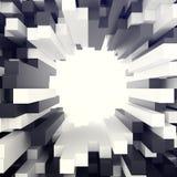Fondo bianco e nero cubico con il foro nel centro illustrazione 3D Fotografia Stock