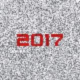 Fondo in bianco e nero del pixel con 2017 su un rumore bianco Fotografia Stock Libera da Diritti