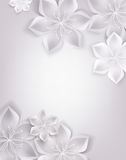 Fondo bianco elegante con i fiori del tessuto Immagine Stock Libera da Diritti