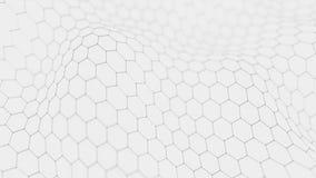 Fondo bianco futuristico di esagono Concetto futuristico del favo Wave delle particelle rappresentazione 3d royalty illustrazione gratis