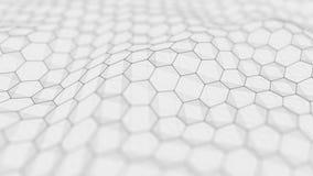 Fondo bianco futuristico di esagono Concetto futuristico del favo Wave delle particelle rappresentazione 3d illustrazione vettoriale