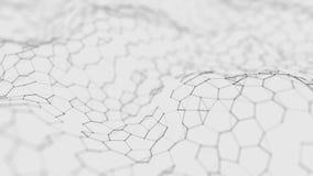 Fondo bianco futuristico di esagono Concetto futuristico del favo Wave delle particelle rappresentazione 3d Fondo di tecnologia d illustrazione vettoriale