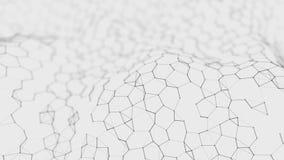 Fondo bianco futuristico di esagono Concetto futuristico del favo Wave delle particelle rappresentazione 3d Fondo di tecnologia d illustrazione di stock