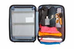 Fondo bianco isolato borsa di viaggio di viaggio dei bagagli Immagine Stock