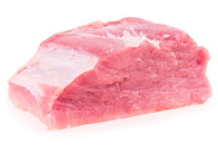 Fondo bianco isolato crudo fresco della carne suina Immagine Stock
