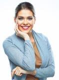 Fondo bianco isolato donna sorridente Immagine Stock